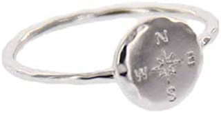 Silver Coated Compass Ring - Hammered Metal Brass Base .925 Sterling Silver - Size 5-9