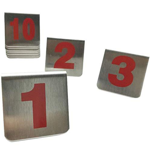 Cikuso Numeri di Tabella Impilabili nel Stile Tenda nel Metallo da 10 Pezzi, Segnaposto Adatti per Ristoranti, Bar, Bar e Riunioni Personali. (Numerati da 1 Un 10)