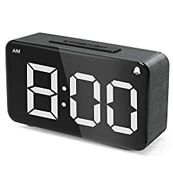 Alarm Clock,Digital Alarm Clocks for Bedrooms LED Small Desk Clock with Adjustable Brightness Dimmer,12/24Hr,Snooze,Easy Use Electric Beside Clock with Adapter,Wood Grain Clock for Kids and Adults