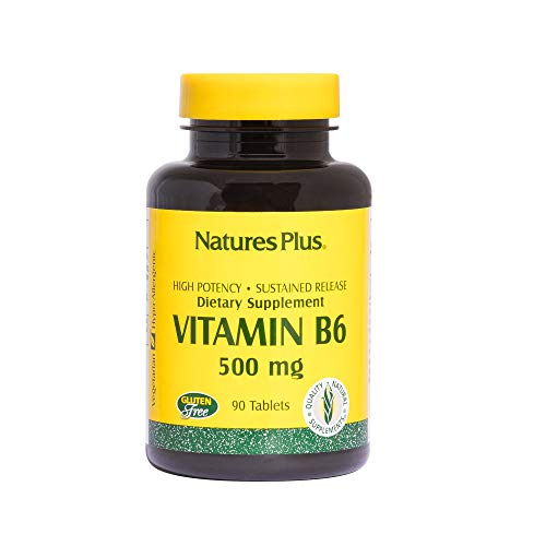 NaturesPlus Vitamin B6 (Pyridoxine HCI), Sustained Release - 500 mg, 90 Vegetarian Tablets - Energy Support Supplement, Mood Booster - Gluten-Free - 90 Servings