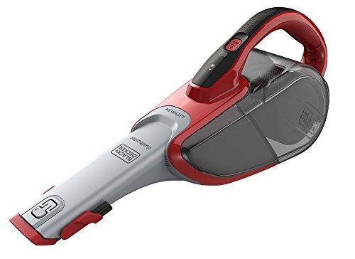 Black+Decker Lithium Dustbuster DVJ315J mit Cyclonic Action – 10,8V Akku Handstaubsauger mit ausziehbarer Fugendüse und Polsterbürste – Beutelloser, kabelloser Staubsauger mit langer Saugdüse – Rot