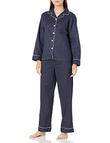 Alexander Del Rossa Women's Lightweight Button Down Pajama Set, Long Cotton Pjs, Medium Black and White Polka Dot (A0517V16MD)
