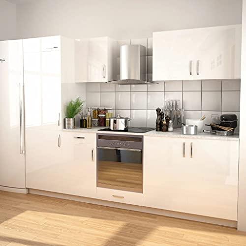 MUSEVANE 7-TLG. Küchenzeile Set mit Dunstabzugshaube Hochglanz Weiß