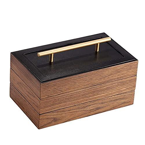 JIANGCJ Bonita caja de joyería de madera con 3 capas de alta capacidad con asa sencilla estilo caja de almacenamiento para anillo, collar y pulsera caja