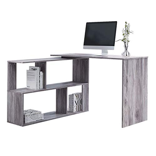 Outwin Work & Study Computer Desk, L-Shaped Wood PC Laptop Workstation Gaming Desk, Home Office Table for Teenagers and Adults (Grey)