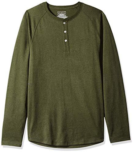 Amazon Essentials - Camiseta ajustada Henley de manga larga para hombre, Verde (Olive Heather), US L (EU L)