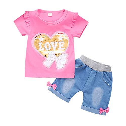 Briskorry Baby Kleidung Set Baby Kleinkind Kinder Mädchen Sommerkleidung Kleidung Kurzarm Liebe Pailletten T-Shirt Tops + Shorts Bekleidungssets Sommer 2Pcs Lässige Outfits Outfits 0-4 Jahre