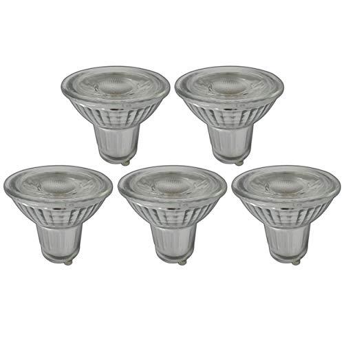 GU10 LED 7 Watt dimbaar warm wit 2700 K van echt glas - glazen lamp gloeilamp lamp dimmer halogeen set (warm wit - set van 5)