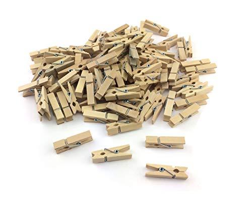 100 kleine mini Dekoklammern Klammern Holz Wäscheklammern Miniklammern Holzklammern natur Silber Gold (Bunt-25mm)
