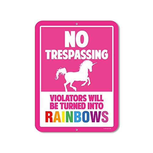 Unicorn Wall Decor, No Trespassing Signs, Violators Will Be Turned Into Rainbows, 9 x 12 Inch Metal Aluminum Novelty Sign Decor
