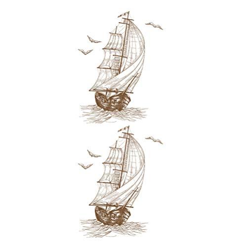 Pegatinas de Pared Náutico Boceto Marítimo Patrón de Velero Calcomanías de Pared Arte de La Pared Mural Decoración de Pared para Sala de Estar Dormitorio