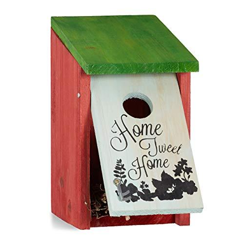 Relaxdays Nistkasten, Kleinvögel, Aufschrift Home sweet Home, Holz, hängend, Deko, HBT: 21,5 x 12 x 15,2 cm, rotgrün