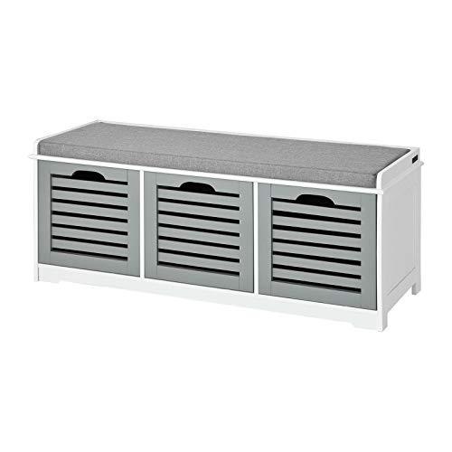 SoBuy FSR23-HG Moderne Schuhtruhe Sitzkommode mit 3 Körben(grau) Sitzbank Schuhschrank mit Sitzkissen Spieltruhe weiß mit grau