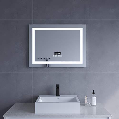AQUABATOS® 80x60 cm LED Badspiegel Wandspiegel Badezimmerspiegel mit Beleuchtung Uhr Bluetooth Lautsprecher Dimmbar Touch Kaltweiß 6400K Warmweiß 3000K Beschlagfrei Antibeschlag IP44 CE