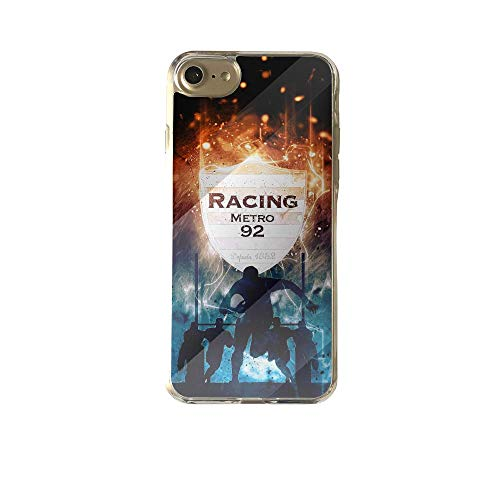 Schutzhülle aus Silikon für iPhone 7/8 Plus, Hartglas, Rugby-Fan Racing 92 Fury