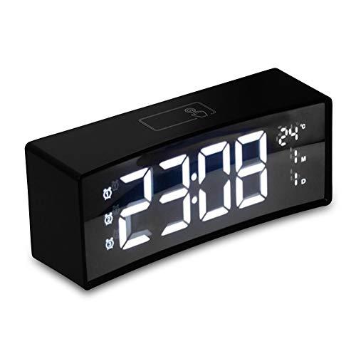 KAR Uhr, Screen 3D gekrümmte Oberflächen Schwimmdock Schrift clevere Spiegel-Uhr elektronische Uhr Nacht Digital LED Wecker Snooze-Großanzeige