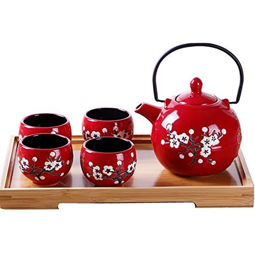 fanquare Japanese Style Porcelain Tea Set,Red Plum Blossom Ceramic Teapot,Tea Cup,Wedding Gift