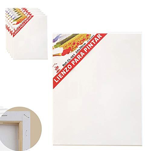 Set de 6 Lienzos 100% algodón 280g/m², Muchos Tamaños Elegir las que Necesarias,Lienzos Para Todo Tipo de Pintura Acrílico Oleo Acuarela. (24 X 30)