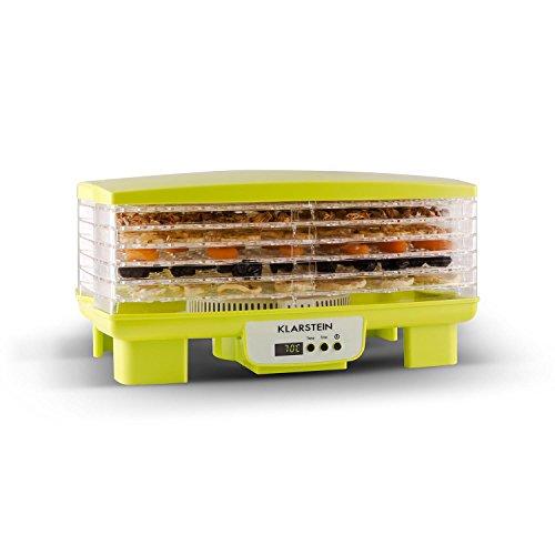 Klarstein Bananarama - Apparecchio di essiccazione, Essiccatore, Essiccatrice, 6 piani, impilabile, 550 Watt, temperatura regolabile, timer, Supporto aggiuntivo fine, facile pulizia, giallo