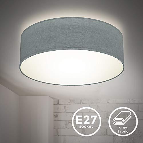 B.K.Licht I lámpara de techo I lámpara de techo de tela I lámpara de oficina I pantalla textil I E27 I 1 llama I Ø30cm I gris I sin bombilla
