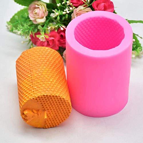 AMITD - Juego de 2 moldes para fabricar velas de forma portátil y duradera, cilindro 3D, molde de silicona con forma de vela, fabricación de jabón, herramienta de pastel