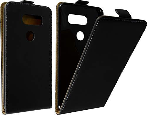 Baluum Hülle Kunstleder Flip Hülle kompatibel mit LG V30 / V30S ThinQ Schwarz - aufklappbare Lederhülle Schutzhülle Cover