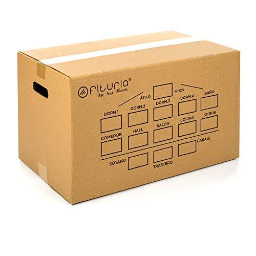 Cajas Carton Mundanza 430x300x250mm (10 UNIDADES) Cajas de Carton de Canal Simple Reforzado con Asas Integradas, Fabricadas en España