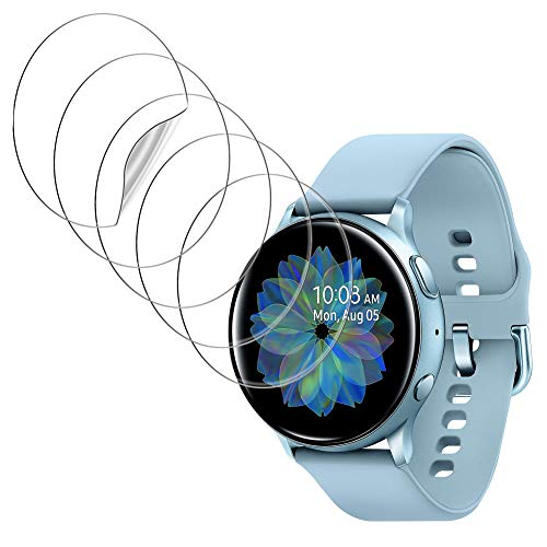 UniqueMe [5Pack] Protector de Pantalla para Samsung Galaxy Watch Active 2 44mm, película Transparente de Burbuja de TPU Huella Digital Disponible Compatible con Samsung Galaxy Watch Active 2 44mm