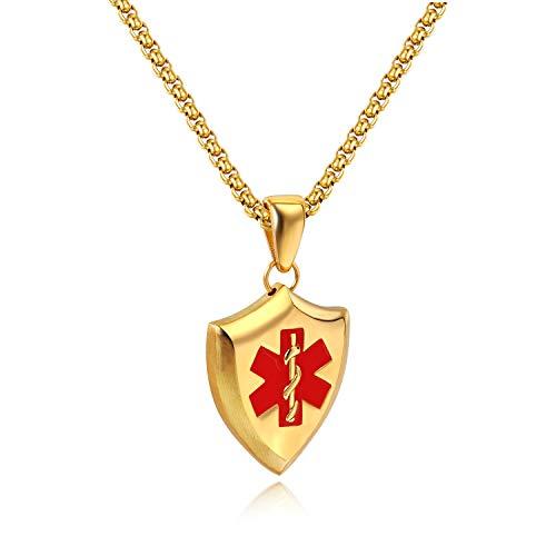 Oidea heren hanger met halsketting Medical Alert schild hanger goud voor mannen dames ID roestvrij staal met gouden ketting 55cm