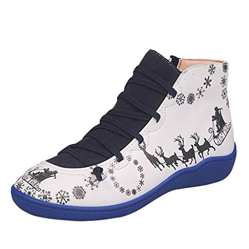 Damen Stiefeletten Frauen Schnürstiefelette Lässige Flache Retro-Schnürstiefel aus Leder mit seitlichem Reißverschluss und runder Schuhspitze für Weihnachten (39 EU,16- Blau)