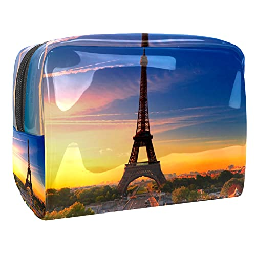 Neceseres de Viaje Atardecer Torre Eiffel Portable Make Up Bags Neceser de Práctico Bolsa de Lavado de Baño Viajes Vacaciones Fiesta Elementos Esenciales 18.5x7.5x13cm