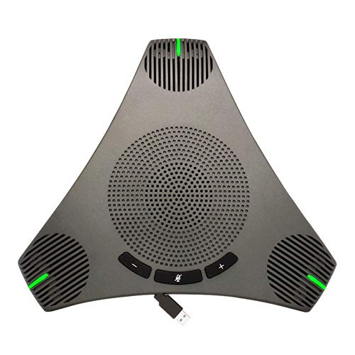 Conference Microphone Omnidirectional USB Speakerphone Microphone for 8-10 People Business Conference,360° Omnidirectional Microphone Intelligent DSP Noise Reduction for Video Meeting (Gray)