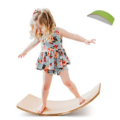 Wooden Wobble Balance Board with Felt Layer Waldorf Toys Balance Board Kid Yoga Board Curvy Board - Wooden Rocker Board 35 Inch Kid Size Dark Green