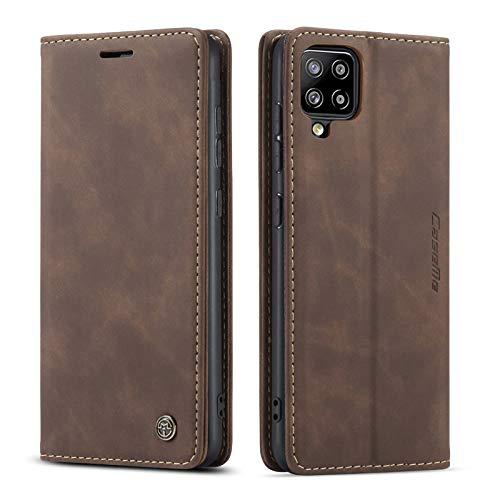 M CASEME UEEBAI Lederhülle für Samsung Galaxy A42 5G, Retro Matte Handyhülle PU Lederhülle Weich TPU Klapphülle mit Kartenfach Standfunktion Magnetverschluss Flip Hülle Handytasche - Kaffee