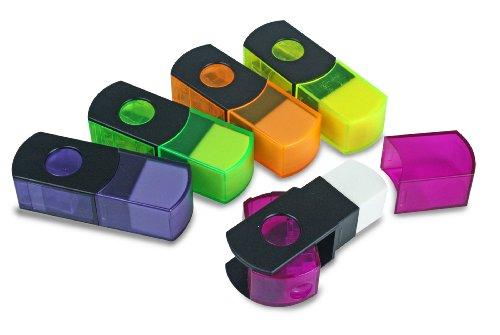 Eisen 10-pack potloodslijper en gummetje met Duitse messen, verschillende kleuren (ESN-48010)