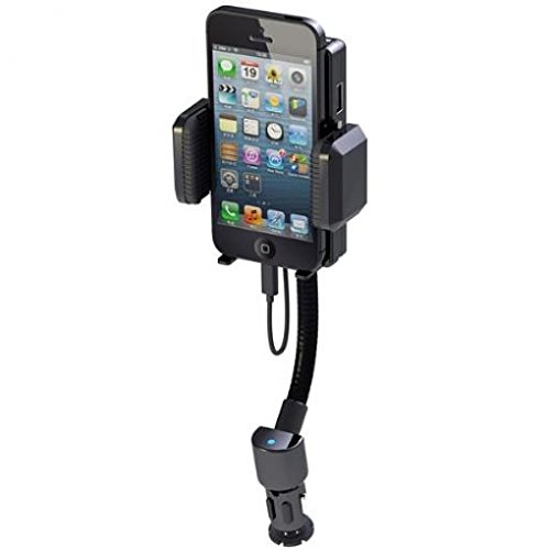 Car Mount FM Transmitter Charger Holder USB Port Dock Cradle Gooseneck Rotating for US Cellular iPhone 6 - US Cellular iPhone 6S - US Cellular iPhone 7 - US Cellular iPhone SE