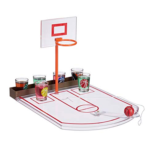 Relaxdays Juego Chupitos Baloncesto, 6 Vasos, Mini Canasta y Pelota, Plástico-Cristal, 22,5 x 24 x 44 cm, Transparente, Adultos Unisex