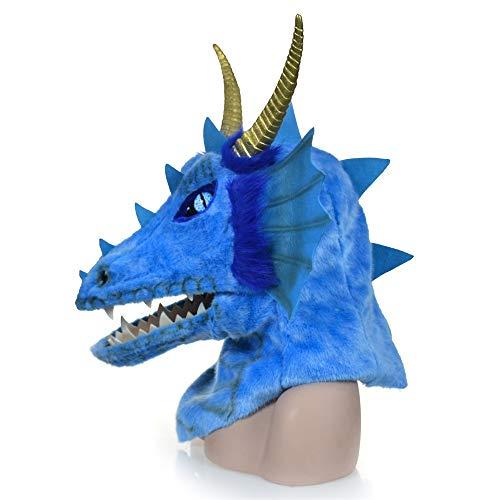 Hochwertige Materialien Animal Furry Mask Premium Kopf Hals Tier Masken pelzigen handgefertigten Halloween beweglichen Mund Maske Orange Dragon Simulation Tier Maske Tierhalsmaske (Color : Blue)