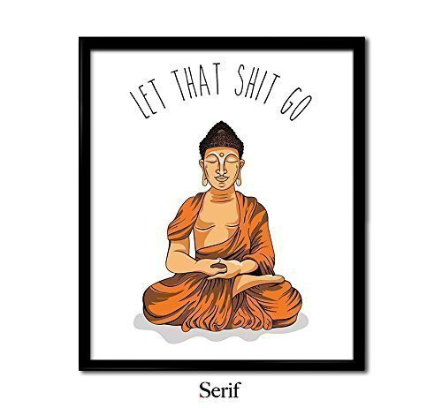 Let That Shit Go Orange Meditating Buddha - Unframed art print poster or greeting card
