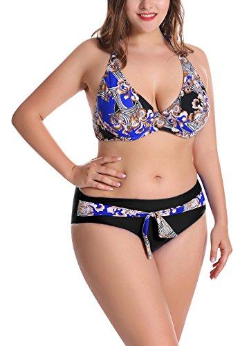 FEOYA - Bikini para Natación de Talla Grande Traje de Natación para Mujer Sexy Push Up Estampado Retro para Verano Playa Biquini - Azul - ES 56