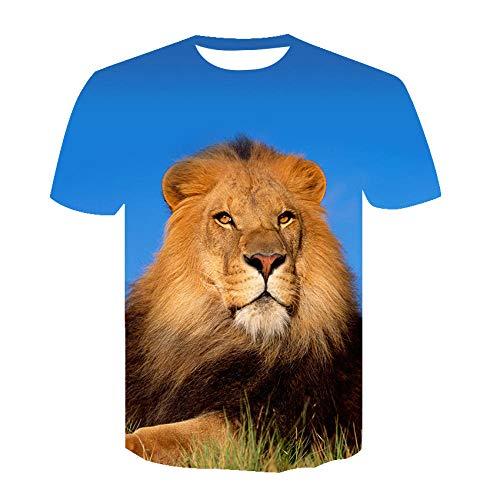 Camisetas Unisex con Estampado 3D De Manga Corta De Verano Casual para Hombre Camiseta Tops Tees Verano Primavera Camiseta Streetwear A Macho Len Animal-B_5XL