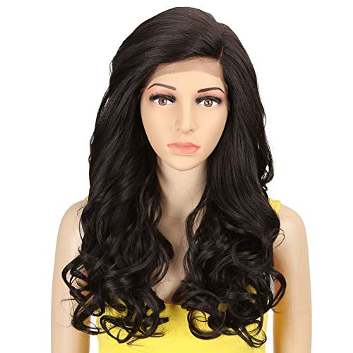 QVR Synthetic Lace Front Wigs for black Women Natural Wavy wigs 22 inch Long Fiber Wigs 130% Density Heat Resistant Wigs Half Hand Tied Color 4
