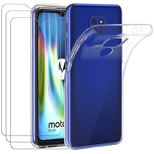 ivoler Funda para Motorola Moto G9 Play Moto G9   Moto E7 Plus + 3 Unidades Cristal Templado, Transparente TPU Silicona Anti-Choque Anti-arañazos Carcasa Caso y Vidrio Templado Protector de Pantalla