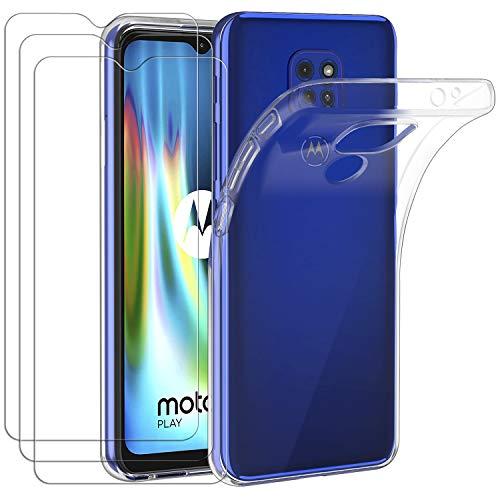 iVoler Custodia Cover per Motorola Moto G9 Play/Moto G9 / Moto E7 Plus + 3 Pezzi Pellicola Protettiva in Vetro Temperato, Ultra Sottile Morbido TPU Trasparente Silicone Antiurto Protettiva Case