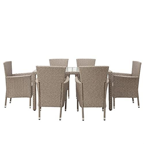 Conjunto de comidas Conjunto de comedor de patio, 7 piezas de patio exterior Conjunto de muebles de mimbre al aire libre Mesa de comedor Silla 1 Mesa + 6 Sillas Marrones Marrón Cojines Beige Cojines P