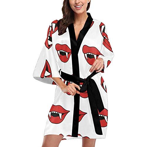 Custom Vampire Fangs Women Kimono Robes Beach Cover Up for Parties Wedding 2XL