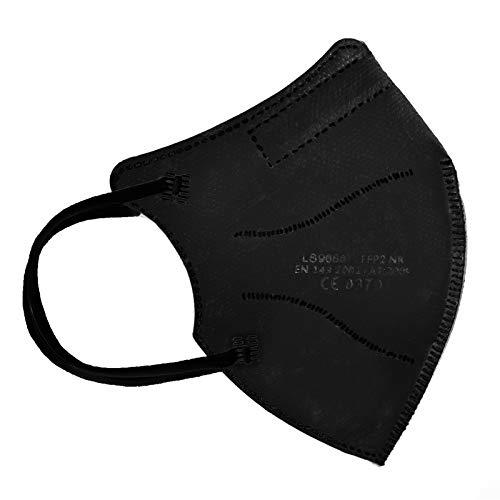 TBOC Mascarillas FFP2 [Pack 30 Unidades] Máscaras Desechables de Tamaño Pequeño [Color Negro] Cinco Capas [No Reutilizables] Transpirables Plegables con Pinza Nasal [Certificadas y Homologadas]