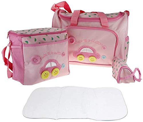 Lot 4pcs Sac à Langer Multifonctionnel Bébé Sac de Biberon pour Maman Maternity Promenade Voyage, Grande capacité - Rose