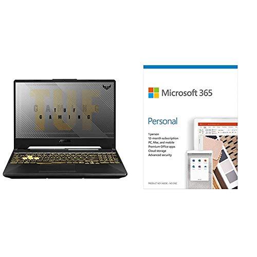 "ASUS TUF Gaming F15 Laptop 15.6"" FHD 144Hz Intel Core i7 10th Gen, GTX 1650Ti 4GB GDDR6 Graphics (8GB RAM/512GB NVMe SSD/Windows 10/Fortress Gray/2.30 Kg)+Microsoft 365 Personal-One Year Subscription"