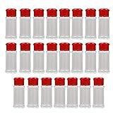 holilest Botellas de condimentos, frascos de plástico vacíos para Especias, 3.3 onzas líquidas/recipientes de Especias de 100 ml para almacenar BB-Red